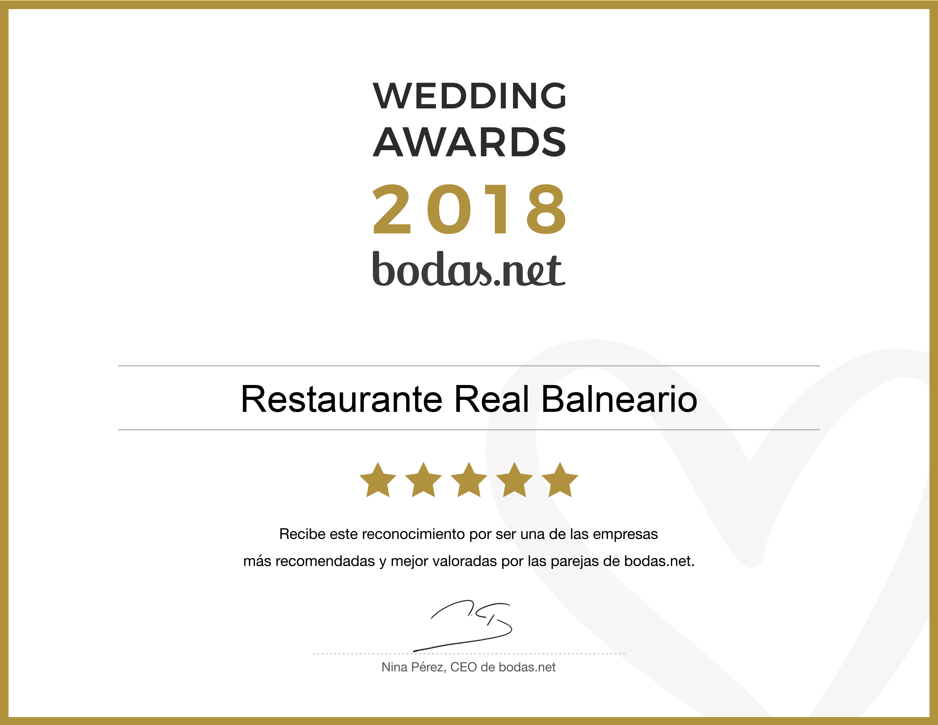Bodas.net reconoce la excelencia del Real Balneario con un Wedding Awards 2018